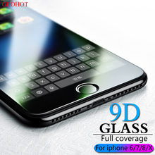 9D protective glass for iPhone 6 7 6S 8 plus X glass on iphone 7 6 8 X screen protector iPhone 7 6 screen protection glass flim militech 6 x 8
