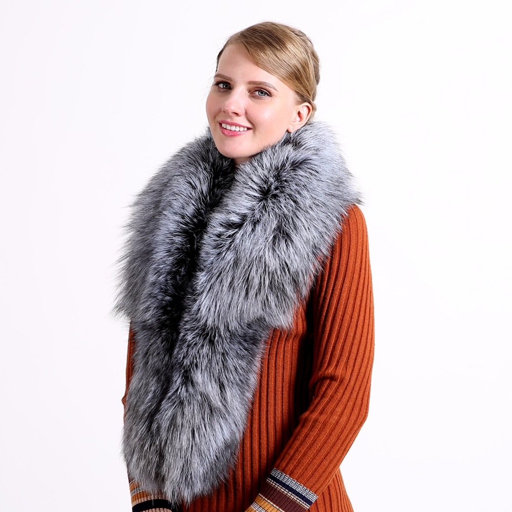 2018 Ring Fashion Solid Hot Sale Vinter 100% Natural Fur Shawl Luksus Fox Collar 130cm Kvinder Real Collars Down Wear Engros