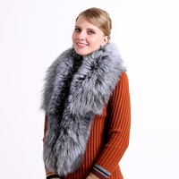 2018 Ring Fashion Solid Hot Sale Winter 100% Natural Fur Shawl Luxury Fox Collar 130cm Women Real Collars Down Wear Wholesale