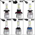 72w/pair H4 H13 Hi-lo Beam COB Chips 8000lm LED Headlight Bulb H7 9005 HB3 9006 HB4 H11 6500k LED Bulb 12V 24V Free Error Canbus
