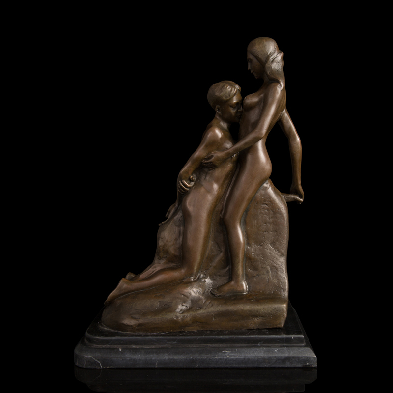 Christmas  Gift 100% Handmade Antiques Bronze Erotic Statues Flirting Nude Lover Figurines For Wedding Decoration