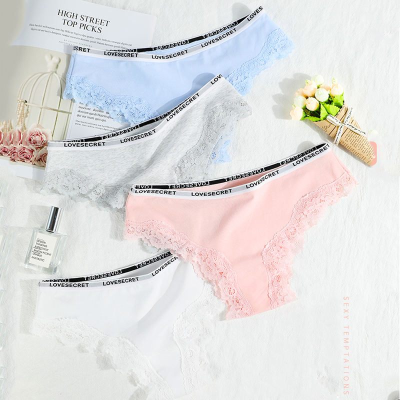 4Pcs/lot New Low-Rise Women Underwear Thongs Ladies lingerie Sexy Lace Cotton Women's   Panties   Seamless Breathable Briefs