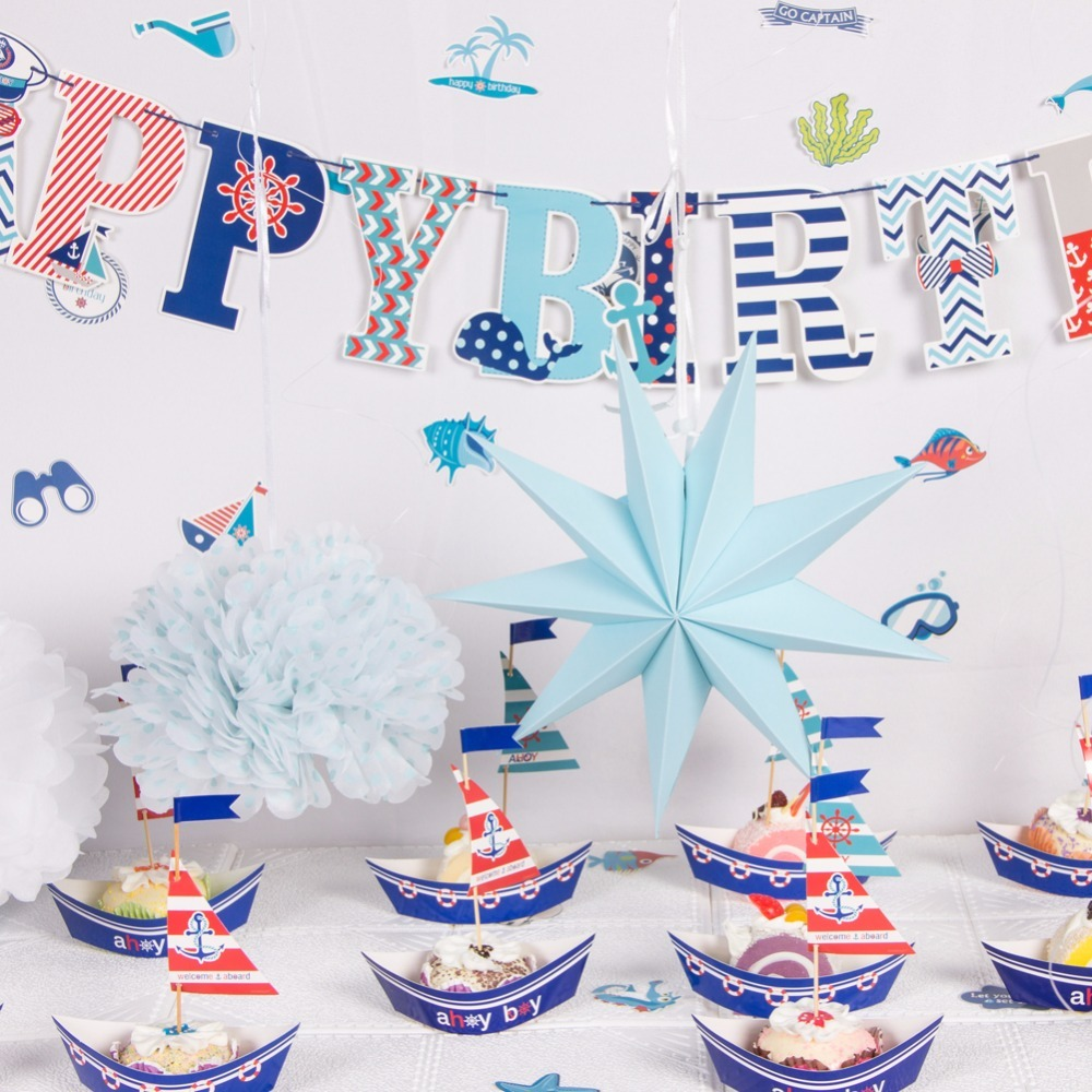 Happy Birthday Decoration Party Ocean Theme Kids Baby Shower Party ...