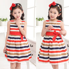 2016 Baby Kids Girls Party Rainbow Striped Bowknot Dresses Gown Fancy Dress 2 To 7Y