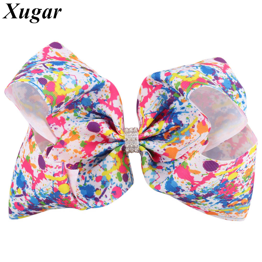 7 Inch Colorful Graffiti Printed Bowknot Hairpins for Kids Dance Party Girl Jumbo Hair Bows with Rhinestone Hair Accessories halloween party zombie skull skeleton hand bone claw hairpin punk hair clip for women girl hair accessories headwear 1 pcs