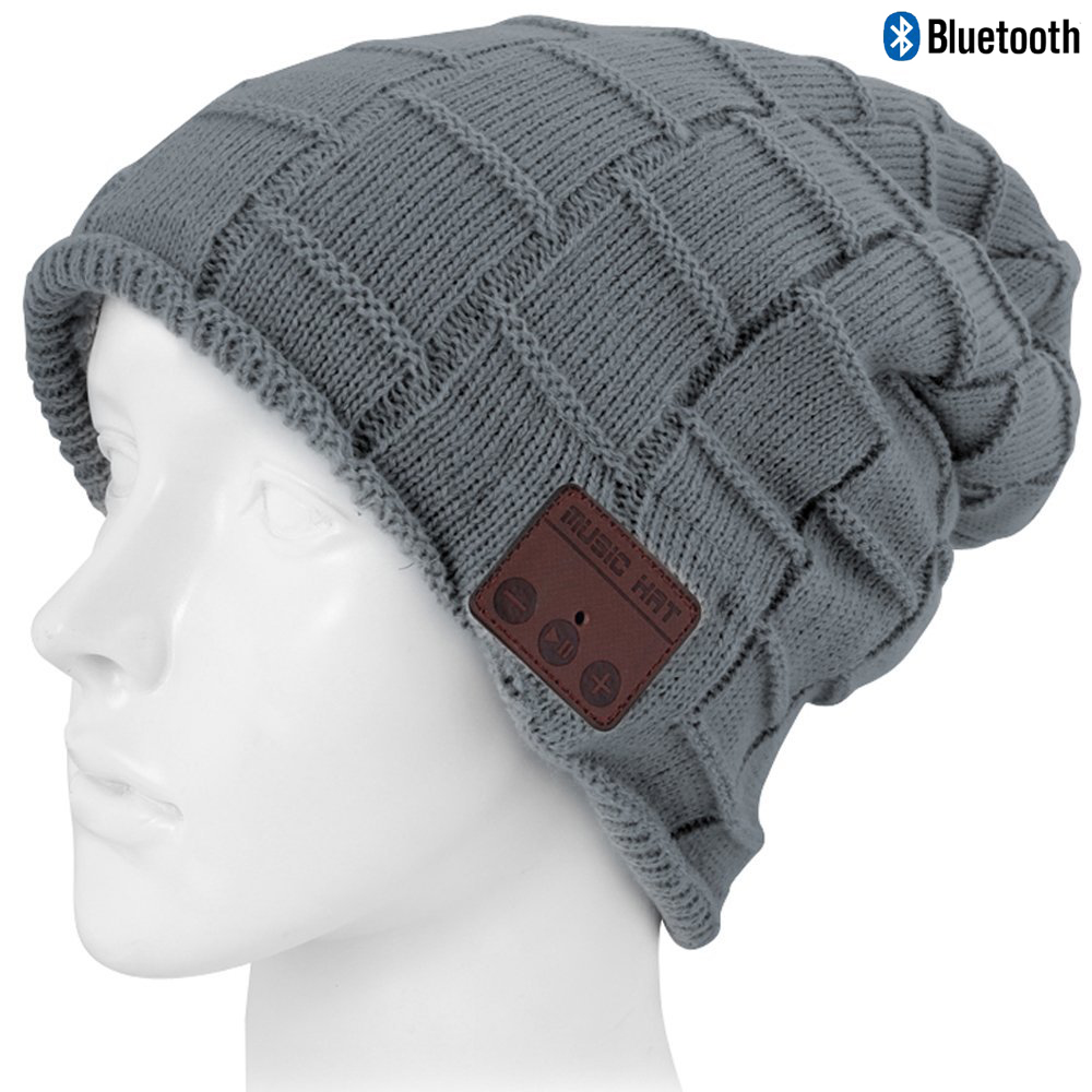Wireless Bluetooth Beanie Hat Knit Warm Winter Cap Built- in Mic Stereo Speakers Headset Headphones Hats Tech Christmas Gift unisex winter plicate baggy beanie knit crochet ski hat cap red