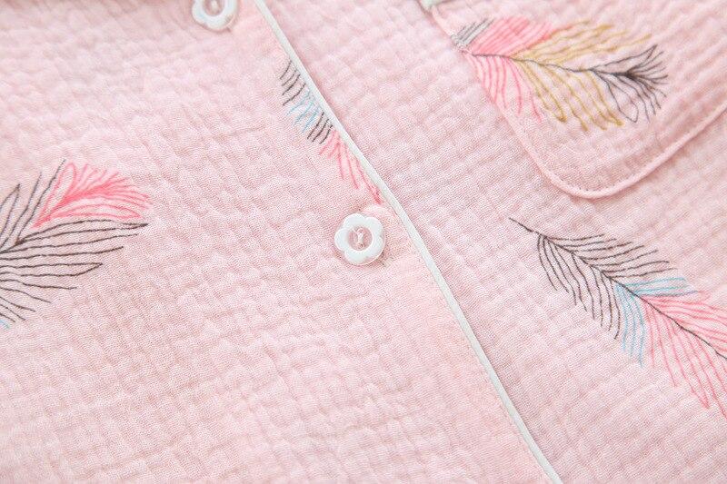 Image 4 - Новинка, летние шорты с короткими рукавами, пижамы для женщин, 100% хлопок креп, мультфильм, перо, принт, пижамы, отложной воротник, домашний костюм-in Комплекты пижам from Нижнее белье и пижамы on AliExpress - 11.11_Double 11_Singles' Day