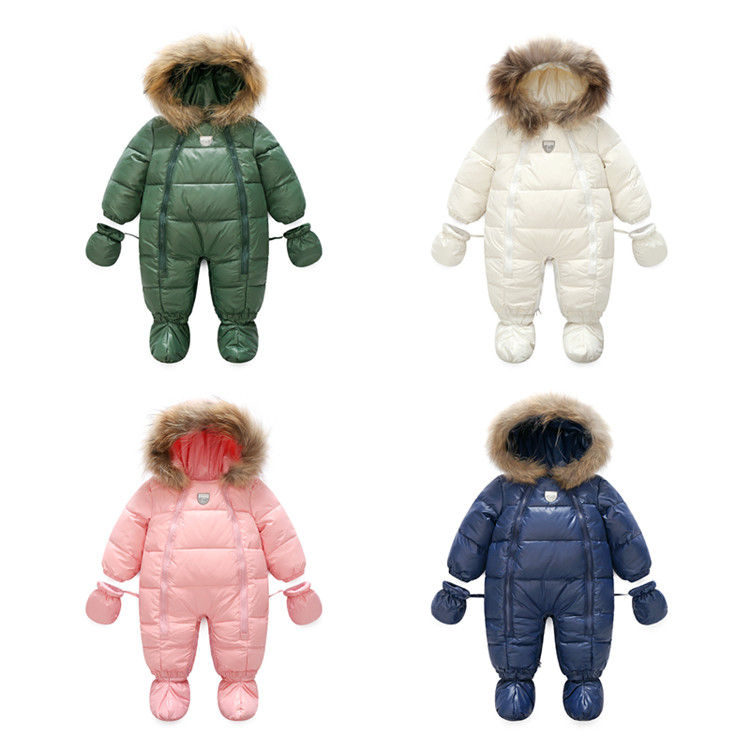 Winter Baby 90% Down Fur Snowsuit Long Sleeves   Rompers   Outdoor Warm Newborn Kids Snow Coats Boys Outerwear Fashion Hooded Down