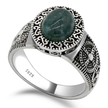 цена на 925 Sterling Silver Unisex Ring Setting Oval Green Natural Stone Timeless Vintage Retro Style Finger Ring for Women Men Jewelry