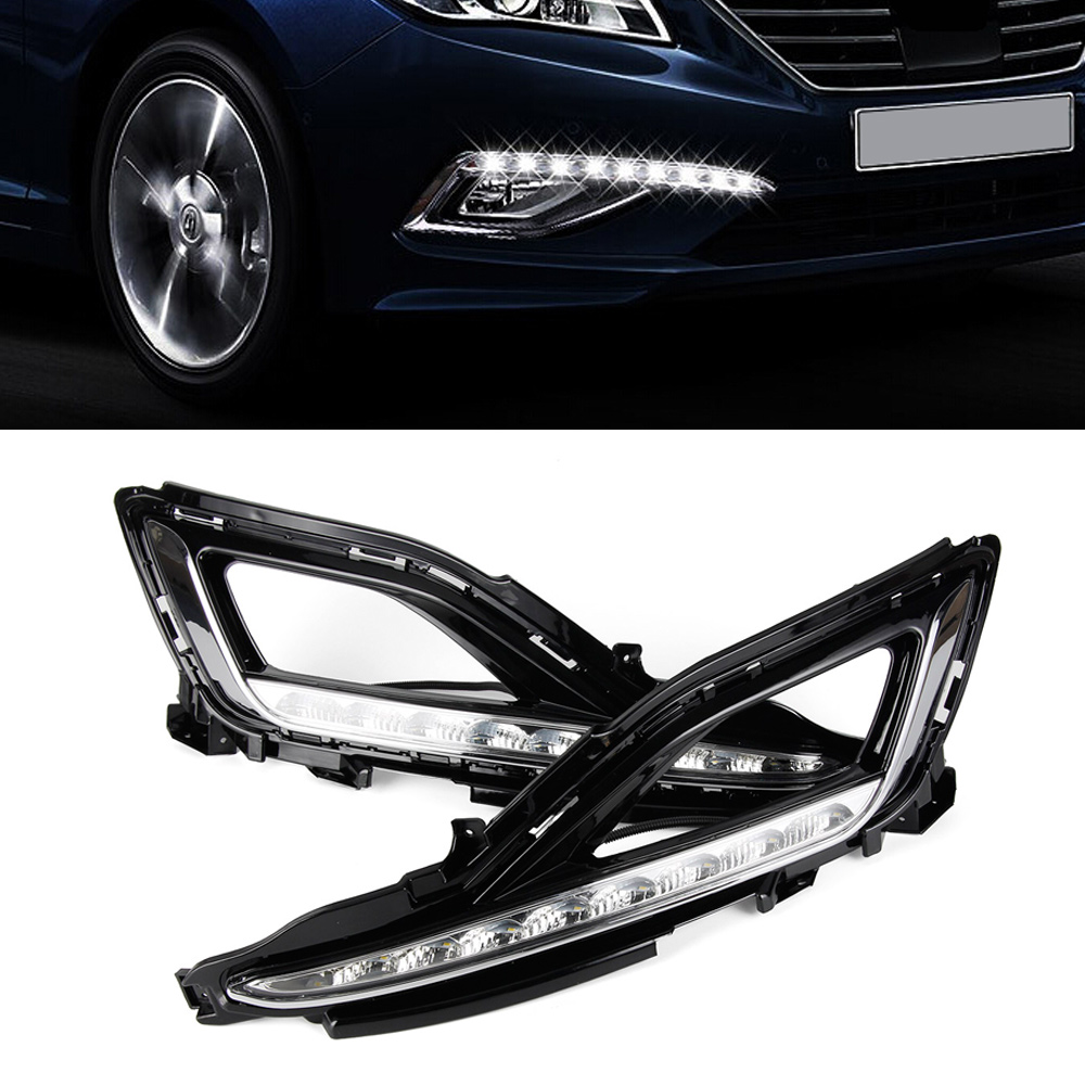 Auto Car LED DRL Daytime Running Light Driving Lamp Day lights For Hyundai Sonata 9 2015-2016 high quality h3 led 20w led projector high power white car auto drl daytime running lights headlight fog lamp bulb dc12v