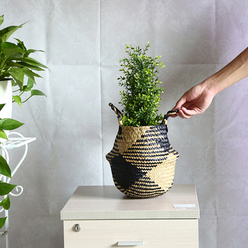 Straw Storage Basket - Folding Woven Baskets/Flower pots With Colored Bottom Best Children's Lighting & Home Decor Online Store
