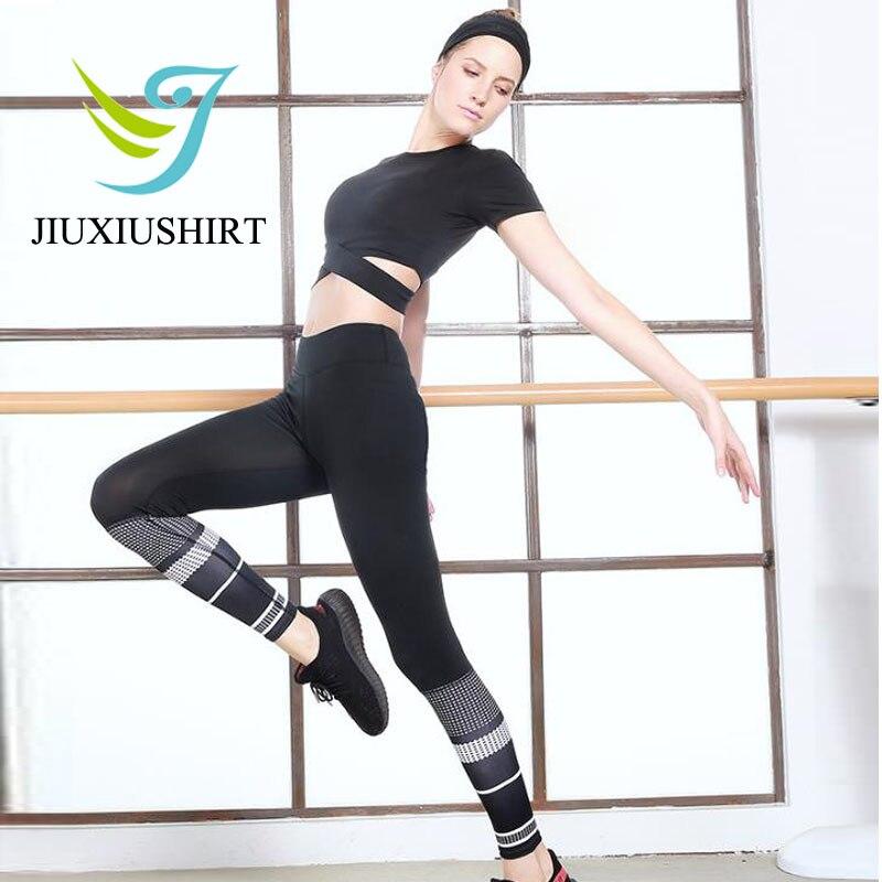 JIUXIUSHIRT Quick Dry Cross Yoga Top Shirt Women Tank Tops Umbilical Fitness Running Training Short Sports Shirt Tops 2017