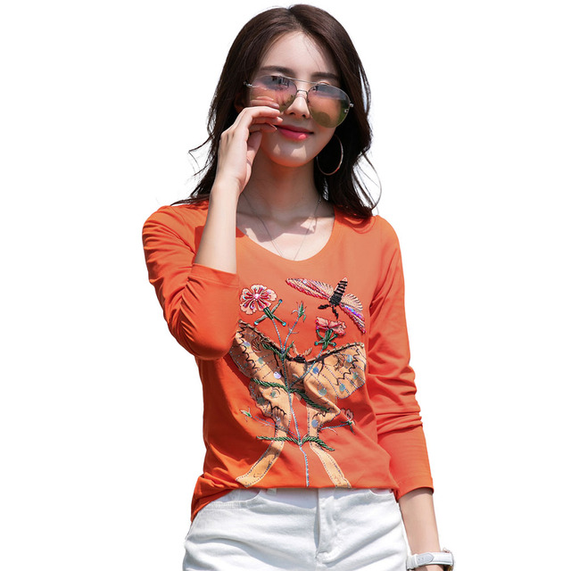 55d1afa7c0 Women Butterfly Fish Embroidery Tshirt Casual Long Sleeve Autumn Tops plus  size Graphic Tees High Quailty Orange T-Shirt Y03303