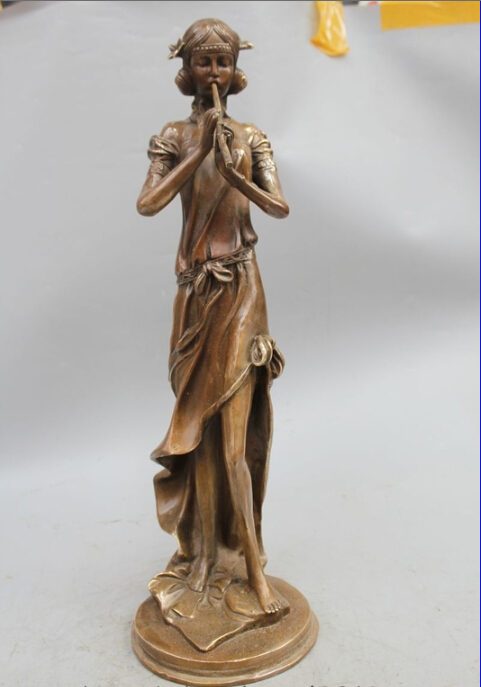 free 20 Chinese Western Copper Art Stand Sexy Nude Woman Lady Belle fluting Statue fastfree 20 Chinese Western Copper Art Stand Sexy Nude Woman Lady Belle fluting Statue fast