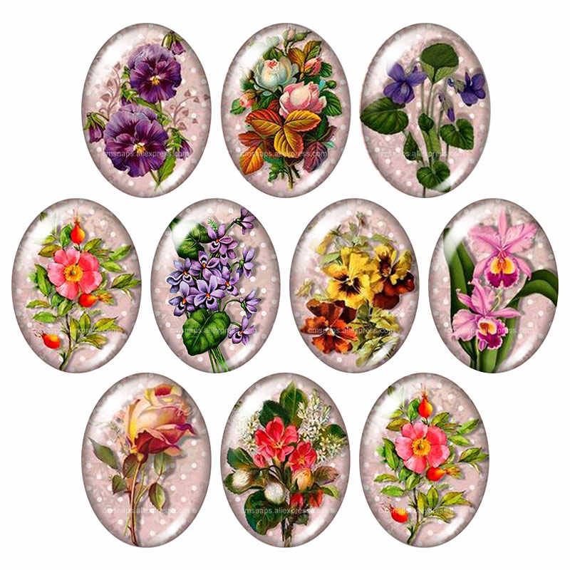 jewelry Cabochons finding beads,Glass Cabochons Flowers--10 2pcs of the 18x25mm Oval Glass Cabochons Flower