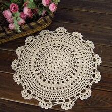 Round Retro Crochet Lace Doilies Floral Placemat Coasters Home Coffee Table Decorative Crafts Home Textiles 30/40/50CM 2PCS/Lot