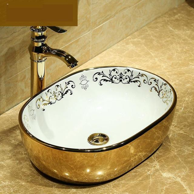 Rectangular Ceramic Counter Top Wash Basin Cloakroom Hand Painted