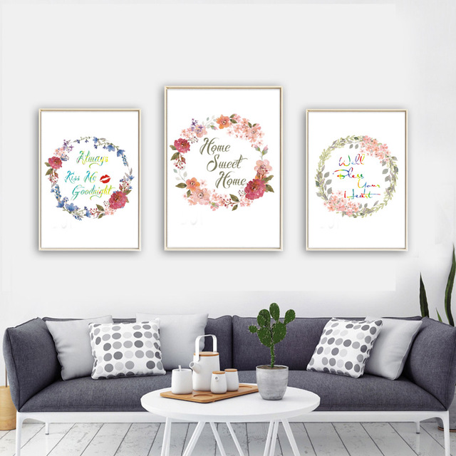 Dctop Beautiful Flowers Home Sweet Home Quote Canvas Art Print Poster Home Decor Living Room Wall