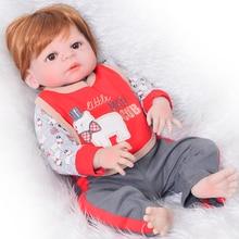 Boneca bebe menino reborn 23 «57 см полный силиконовый винил reborn куклы Малыши-мальчики Новорожденные живые куклы подарок может bathe