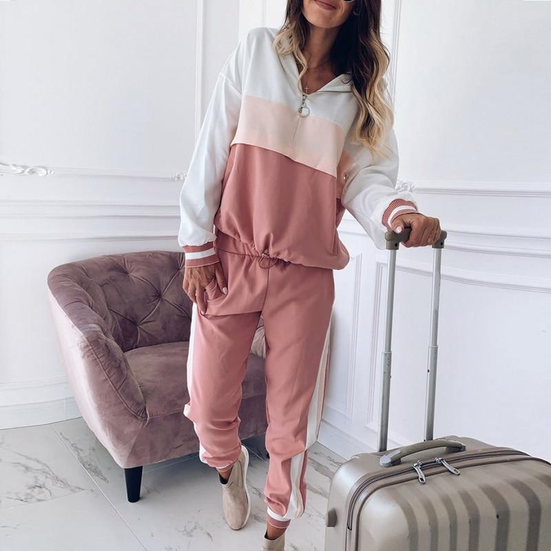 2019 Women Casual Tracksuit Sportswear Sets Women Patchwork Hoodies Sweatshirt And Sweatpant 2 Pcs Set Spring Autumn Jogger Set
