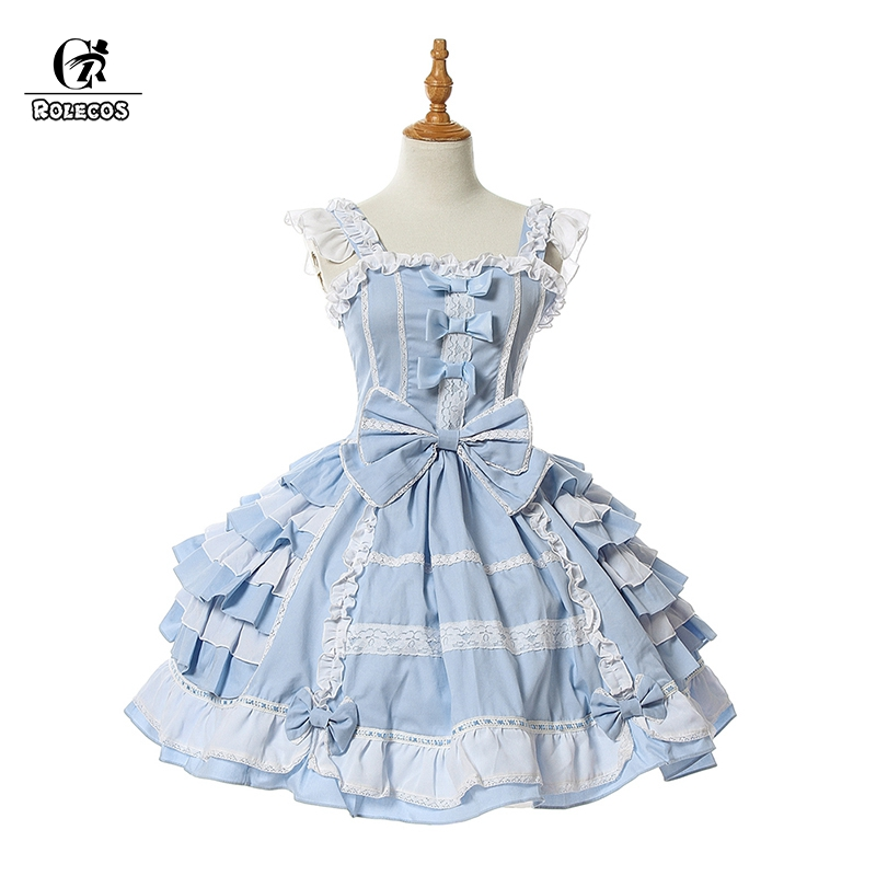 ROLECOS Sweet Lolita Dresses OP Princess Cosplay Classic Lolita Dress JSK Victorian Grown Girls Vintage Costume Bow Pink White