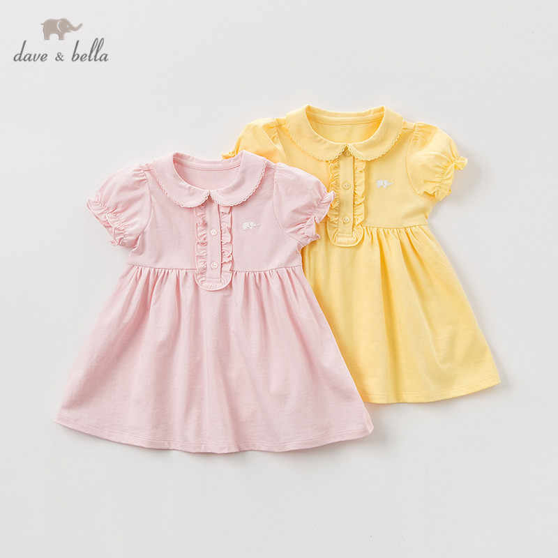 DBQ9635 dave bella summer baby girl's princess cute solid dress children fashion party dress kids infant  lolita clothes