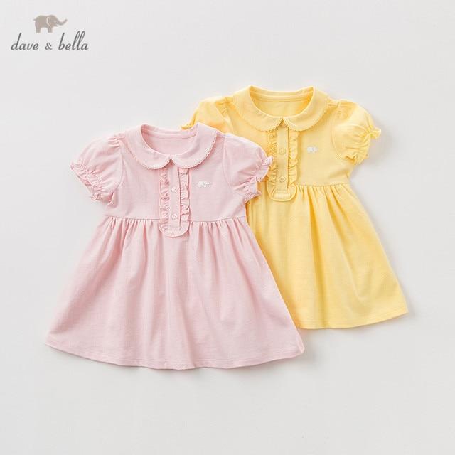 DBQ9635 ديف بيلا الصيف طفلة الأميرة لطيف الصلبة اللباس أزياء الأطفال حزب اللباس الاطفال الرضع لوليتا الملابس