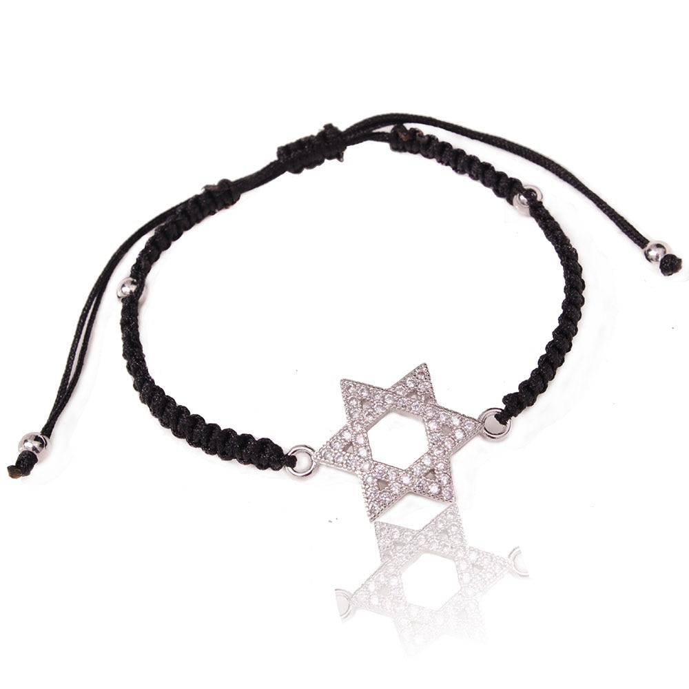 Etoile de David bracelet à breloques zircon micro pavé cuivre 3