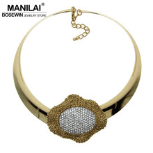 MANILAI Punk Rhinestone Flower Collar Choker Necklace Women Fashion Alloy Torques Bib Big Statement Necklaces Maxi Jewelry(China)