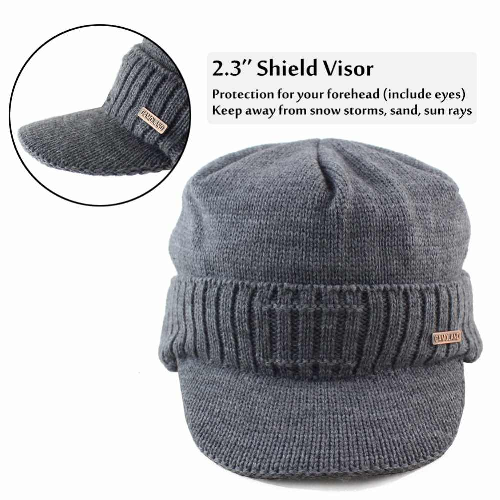 ... Wool Cable Knit Beanie with Visor Earflaps Men s Winter Hat Caps  Skullies For Women Warm Outdoor ... 8bd04934ebf5