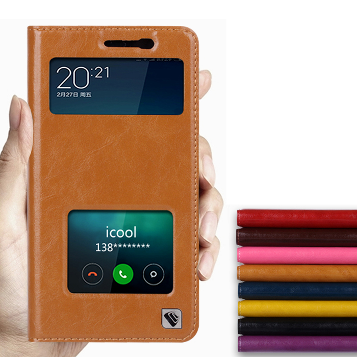 Hot For Xiaomi Redmi Note 2 High Quality Genuine Leather Smart Cover Case Window Luxury Flip