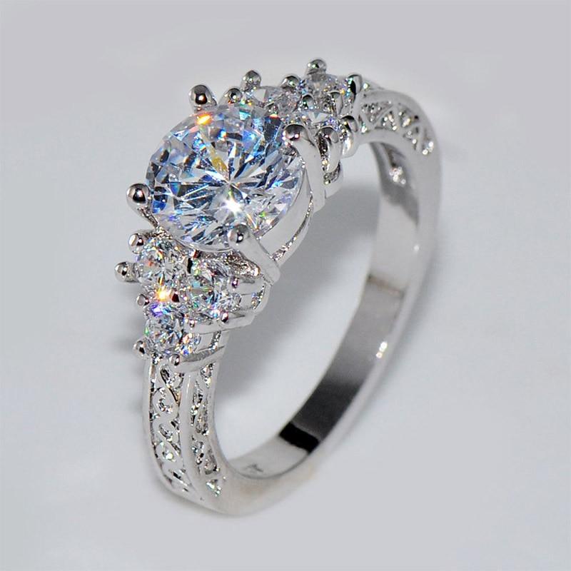 Hot Romantic Crystal Women Rings Natural Birthstone in Bridal Princess Wedding Engagement Ring Size 6 7 8 9 10