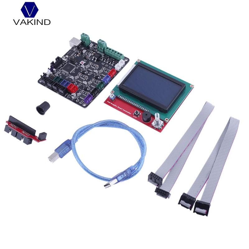 все цены на VAKIND Motherboard Kit+MKS BASE V1.5 Motherboard+12864LCD Display Screen+L type Adapter+USB Cable + Gray Wire 3D Printer Parts онлайн