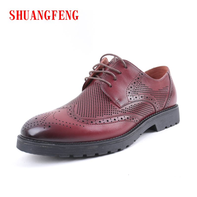 SHUANGFENG New 2018 Men Casual Shoes Genuine Leather Men Shoes Summer Breathable Holes Luxury Brand Lace up Shoes Man Footwear ege brand handmade genuine leather spring shoes lace up breathable men casual shoes new fashion designer red flat male shoes