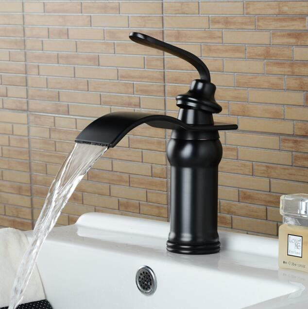 Black antique brass waterfall faucet wash basin basin faucet waterfall Black faucet bathroom sink tap cold and hot mixer tapBlack antique brass waterfall faucet wash basin basin faucet waterfall Black faucet bathroom sink tap cold and hot mixer tap