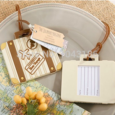 wedding favor gift and giveaways for guest -- Let the Journey Begin Vintage Suitcase Luggage Tag party souvenir 80pcs/lot