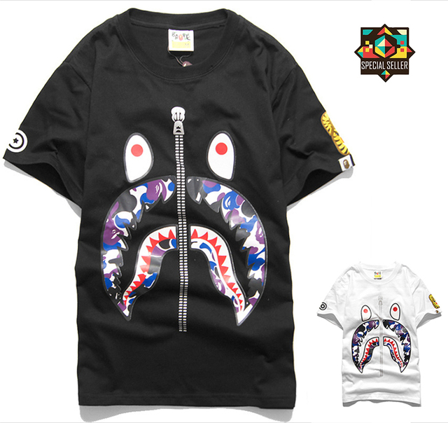 2211ee9747a98 US $13.99 |2015 New Men Bape Shark Design WGM Print SUMMER STYLE T SHIRT  LOVER'S Short Sleeve mma camisetas masculina Bape Brand Streetwear-in ...