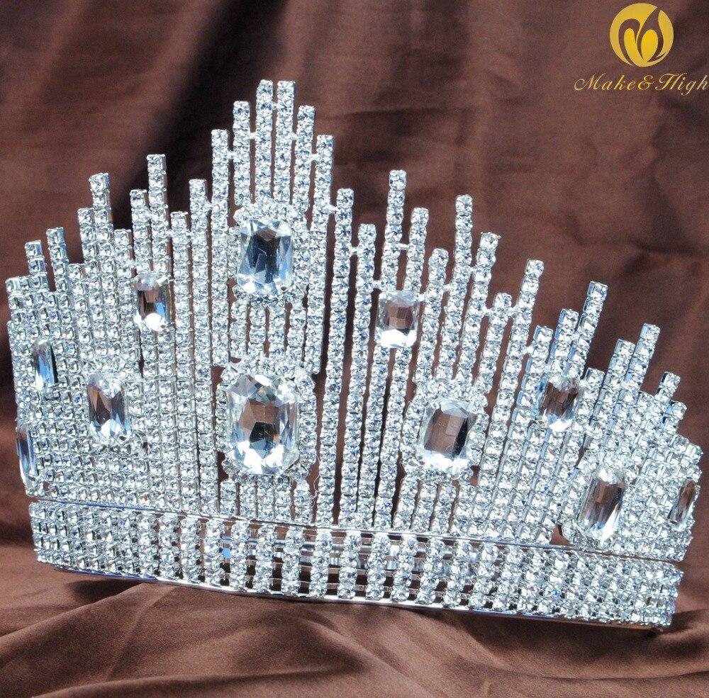 Мисс Театрализованное большие Тиара для волос невесты корона ручной работы прозрачного хрусталя австрийский горный хрусталь Для женщин го...