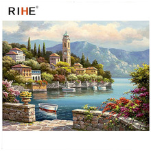 RIHE Beachside Town Diy Painting By Numbers Abstract Boat Oil Painting On Canvas Cuadros Decoracion Acrylic Wall Art Picture rihe amused expression diy painting by numbers abstract cute cat oil painting on canvas cuadros decoracion acrylic wall art