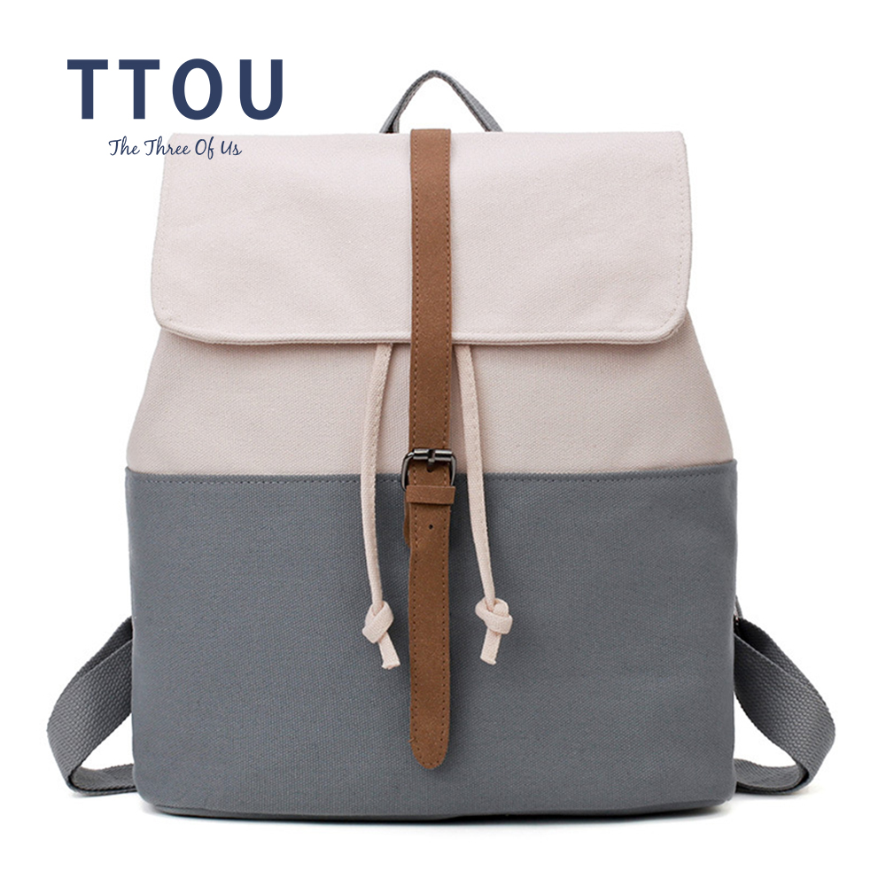 TTOU Casual Women Canvas Backpack Drawstring School Bag For Girl Preppy Ladies Teenagers Patchwork Travel Schoolbag With Belt