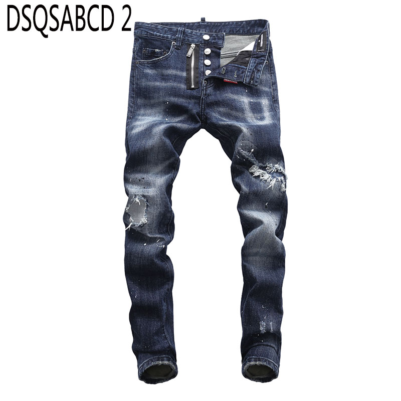 European American Style famous brand   jeans   luxury Men straight denim trousers zipper Patchwork Slim blue hole   jeans   for men 8027