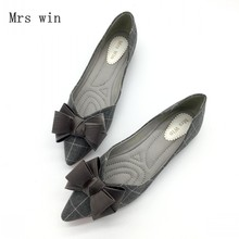 2018 Spring Autumn Women Ballet Flats Shoes Plaid Slip-On Bowtie Woman Single Shoes Ladies Females Footwear Zapatos Mujer Black