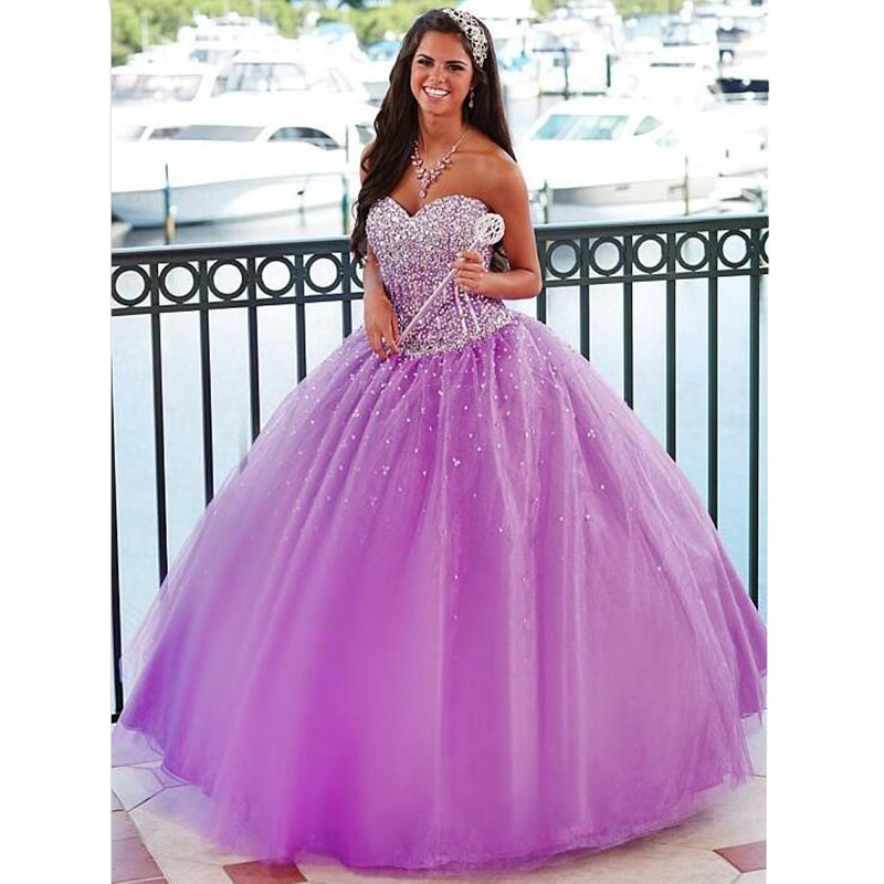 lavender light purple quinceanera dresses with sequins and