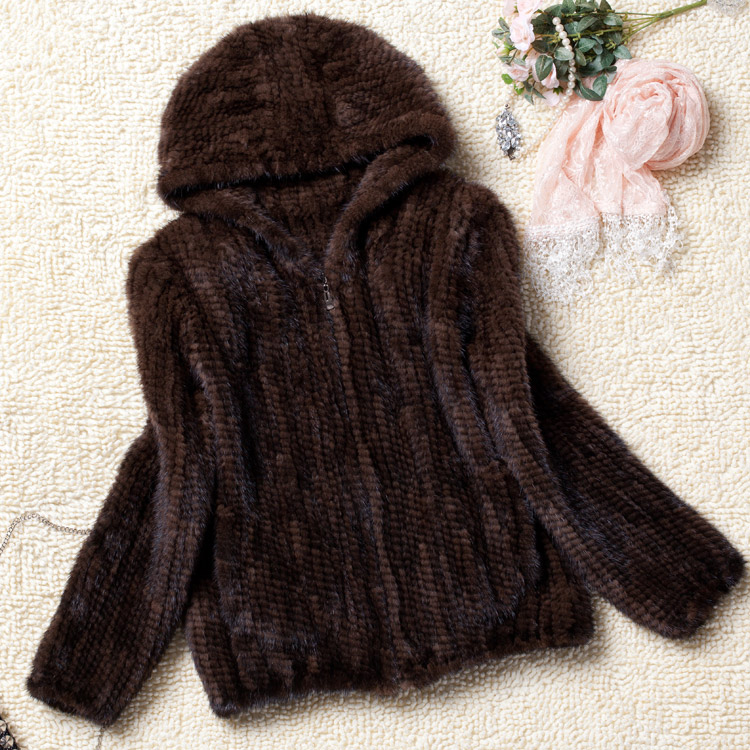 Real Fur Coat Women Winter Natural Fur Jacket Hooded Genuine Knitted Mink Fur Coat Outerwear Large Size L To 6XL Available G8892