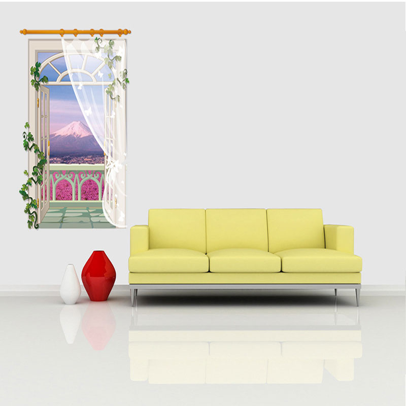 3D Fake Window Lavender Sticker Living Room Sofa Bathroom Bedroom ...