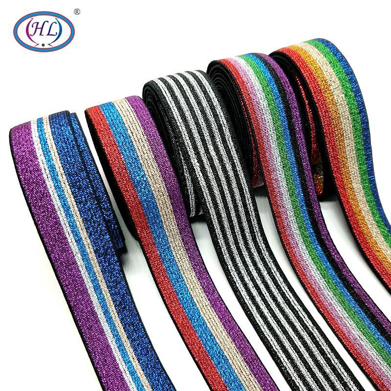HL 25 MM 2 metros/lote Colorido Hot Stamping Elásticos Webbing DIY Sacos de Vestuário Acessórios de Costura