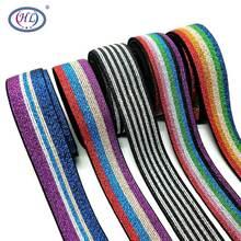 HL 25MM 2 Meters/lot Colorful Hot Stamping Elastic Bands DIY Webbing Apparel Bags Sewing Accessories
