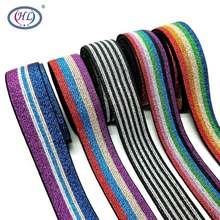 HL 25MM 2 metre/grup renkli sıcak damgalama elastik bantlar DIY dokuma giyim çanta dikiş aksesuarları