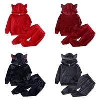 Autumn Girls Boys Clothing Sets Winter Children Fashion Hooded Sweatshirt Coats And Pants Suit Velvet Tracksuit Kids Clothes Set (1)_??