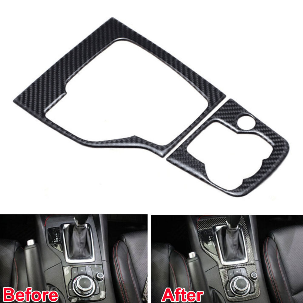 BBQ@FUKA 1PC Interior Black Carbon Fiber Gear Shift Box Panel Frame Cover Trim Sticker Fit for Mazda 3 Axela 2013 2014 2015 fit for toyota camry 2018 carbon fiber style interior gear shift knob cover trim interior mouldings interior accessories